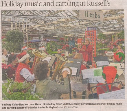Band playing carols at Russell's Garden Center